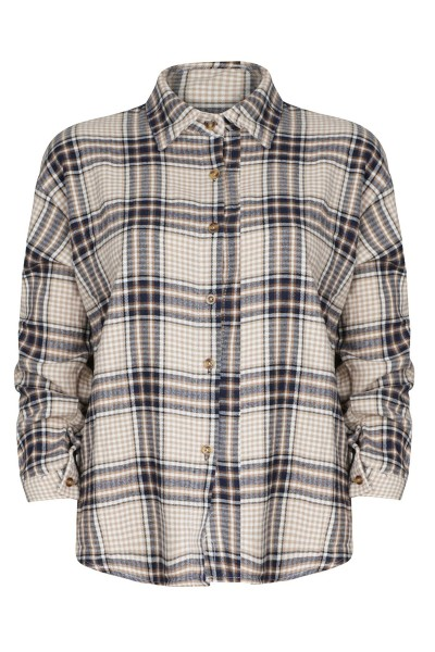 Blouse checked beige