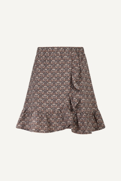 skirt with elastic waistband and volant blauw