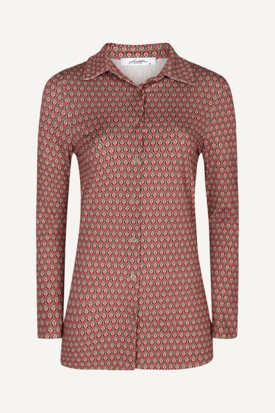 Blouse travel print taupe