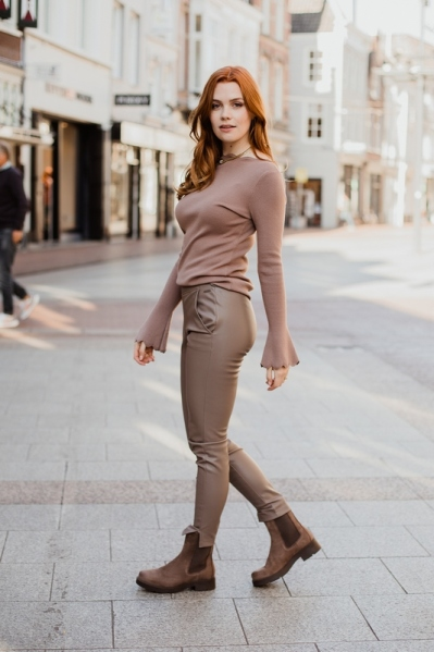 Pu broek winsome taupe