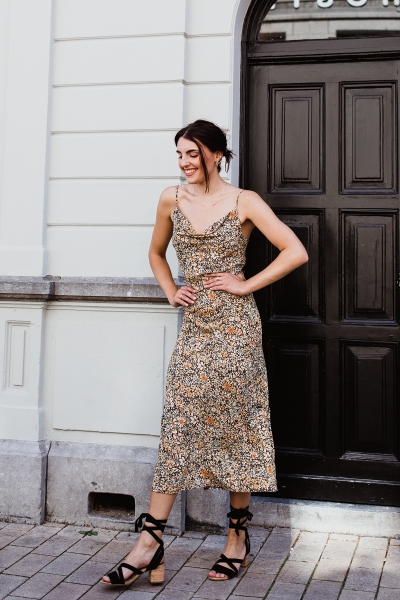 Slip dress maxi bloem geel