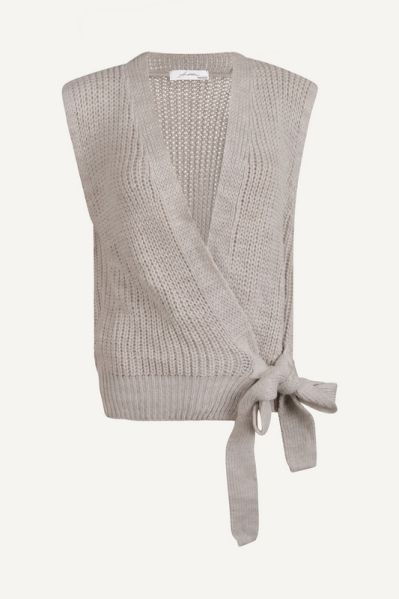 Knoop vest mouwloos off white