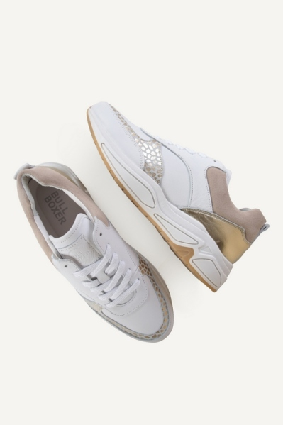 Combi sneaker goud taupe wit