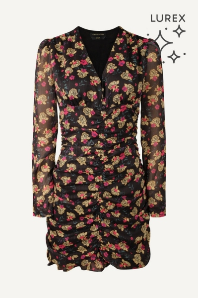 Kate flower lurex smock dress zwart