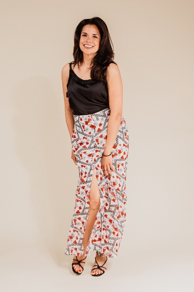 Flower high low skirt rood wit