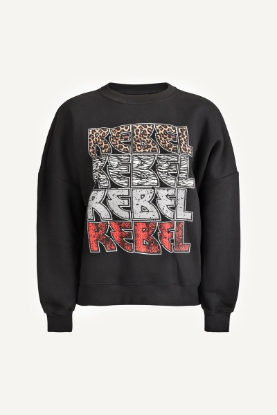 Rebel rebel dropped shoulder sweater zwart
