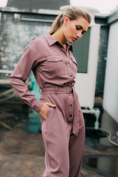 Boilersuit with chestpockets and tie paars