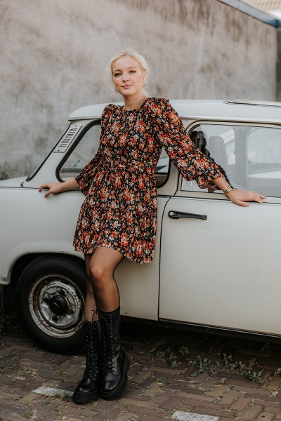 Mini dress with long puff sleeves multi