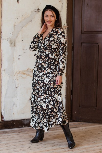 Long wrap dress kong sleeves zwart