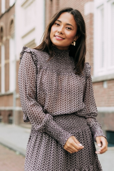Long sleeve blouse with smock paars