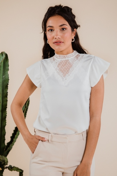 Satin top with lace details wit