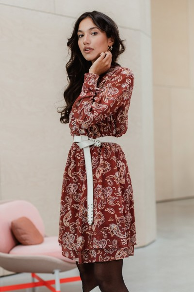 Dress with smock neckline and waist, layered skirt brique