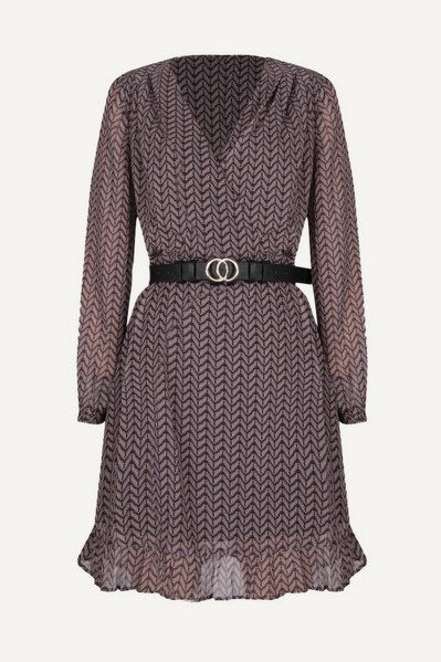 Long sleeve dress with shoulderpads and belt paars