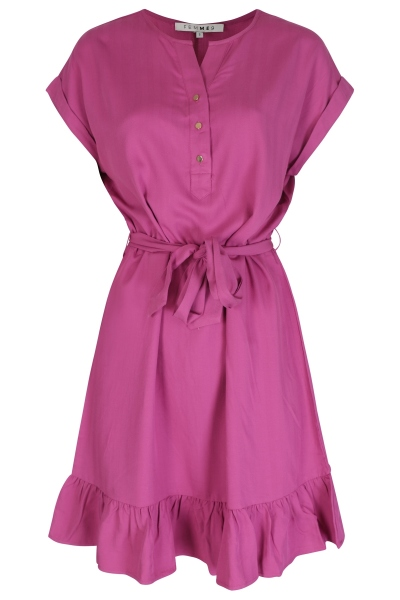 Ruffle dress with placket and tie paars