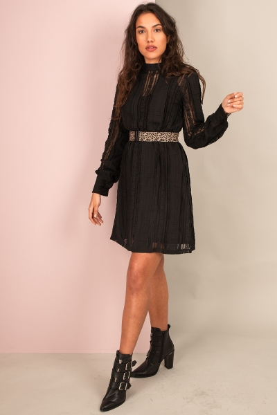 Lace dress with turtle neck zwart