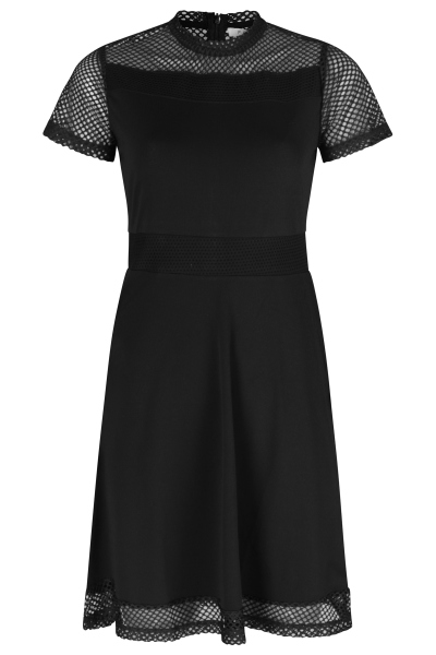 Short sleeved dress with mesh parts zwart