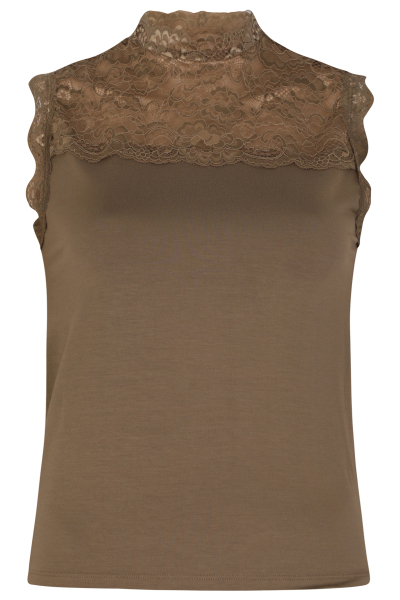 Sleeveless top with lace details army