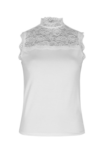 Sleeveless top with lace details wit