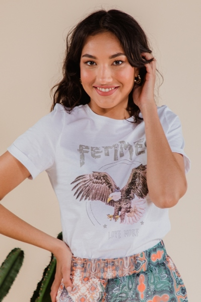 T-shirt with eagle print wit