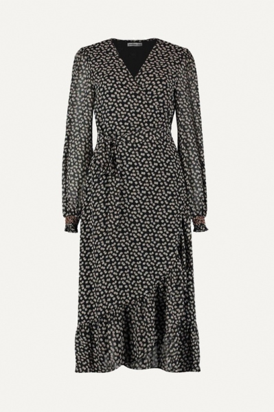 Wikkel dress print zwart