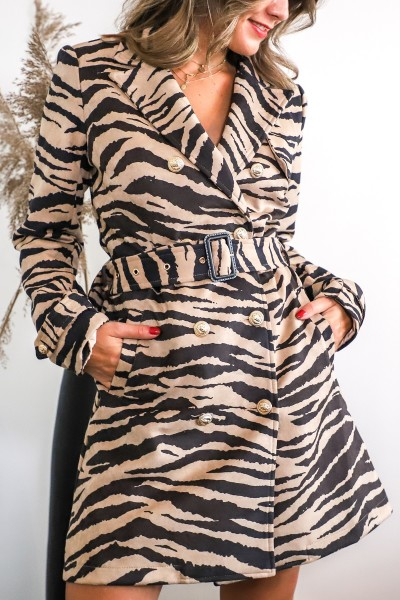 Zebra blazer dress beige