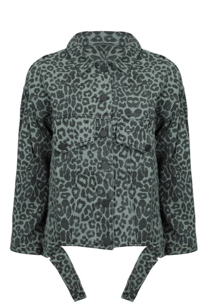 Panter print jacket groen