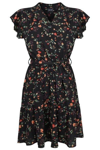 Flower dress ruffles mouw zwart