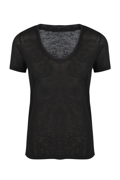 V-neck linnen look zwart