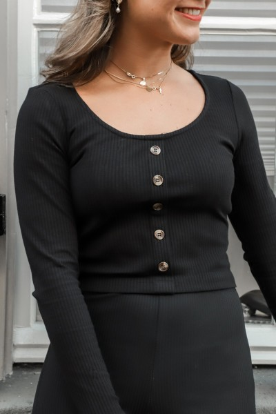Rib top with buttons zwart