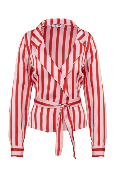 Striped wrap blouse rood