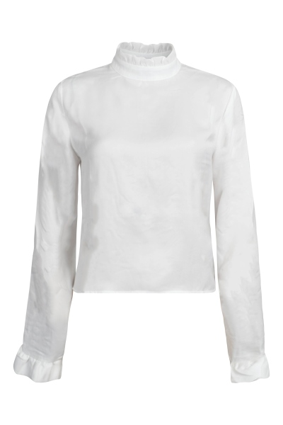 Frill sleeve elastic collar blouse wit