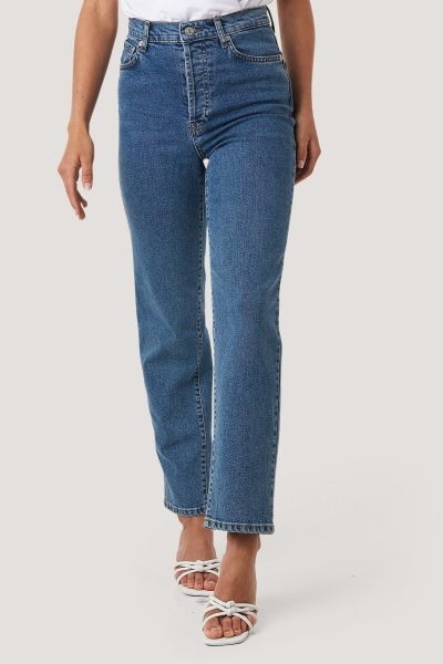 Straught high waist jeans donker blauw