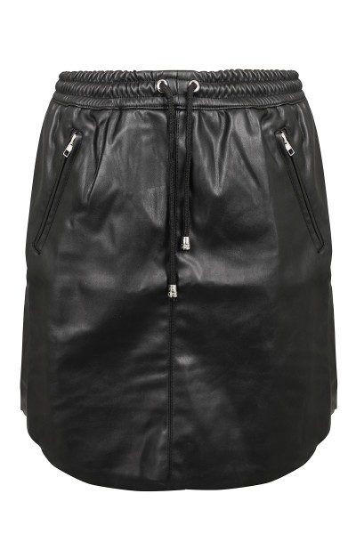 Pu curve mini skirt zwart