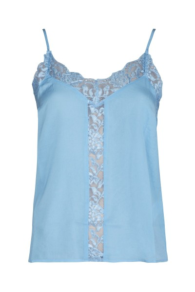 Lace front singlet blauw