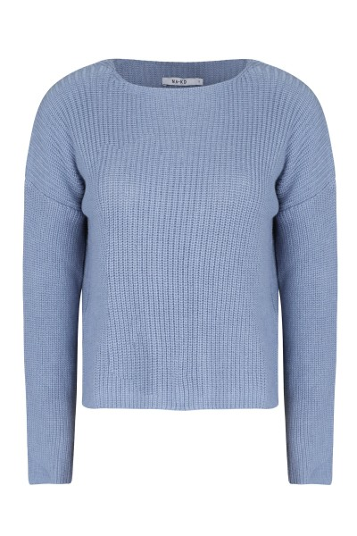 Cropped long sleeve knitted blauw