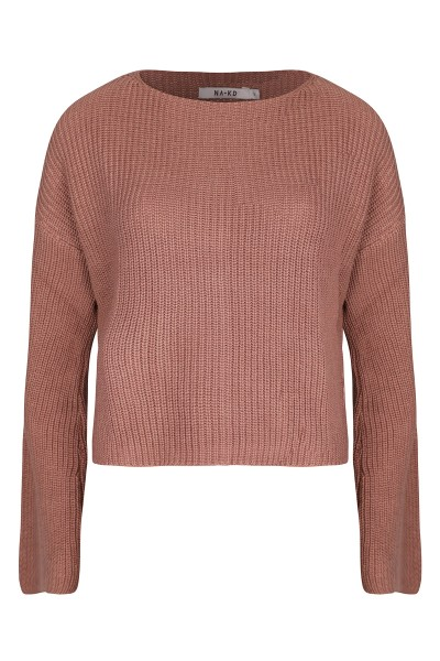 Cropped long sleeve knitted roze