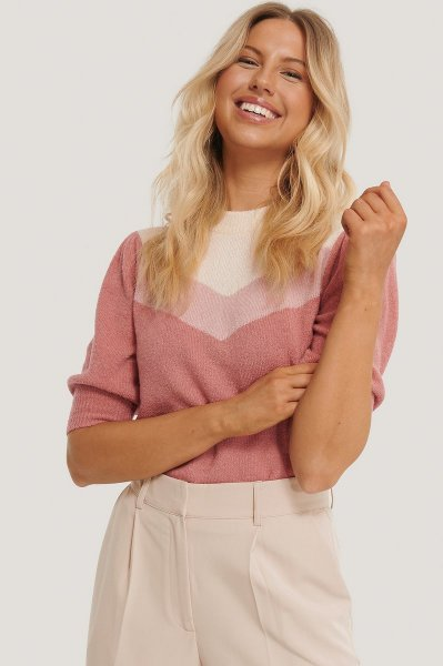 Colorblock knitted top roze