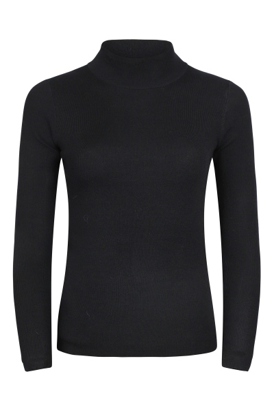 Ribbed polo knitted sweater zwart