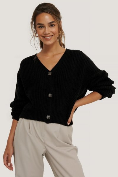 Oversized cropped cardigan zwart