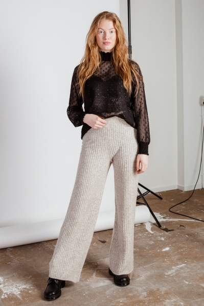 NMSALLY NW LOOSE KNIT PANT beige