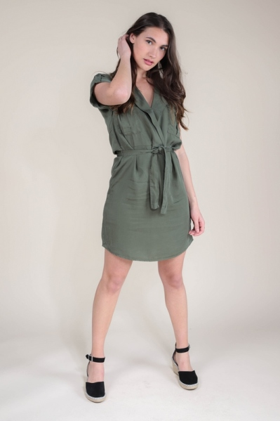 NMVERA S/S ENDI TENCEL SHIRT DRESS army