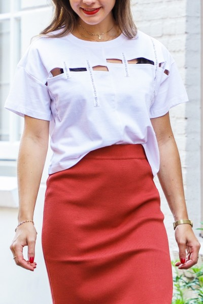 Cropped tape top wit