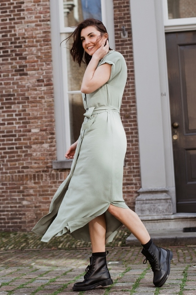 Tencel dress with buttons and belt army