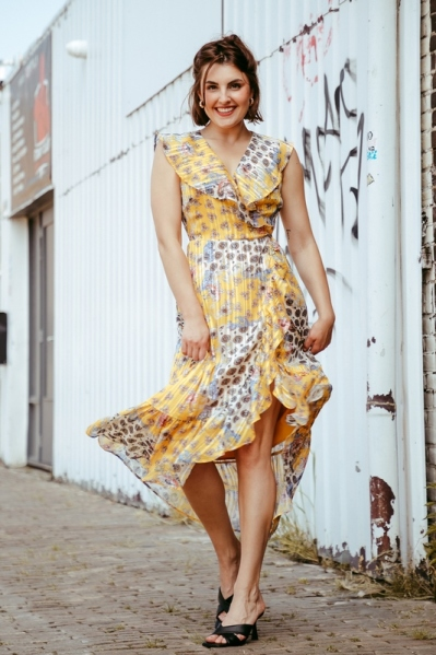 Long wrap dress with volants multi