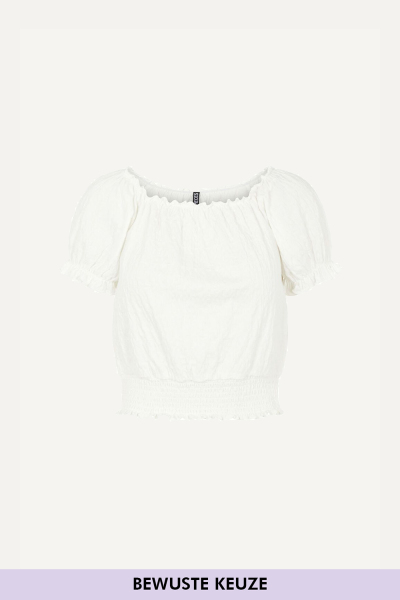 PCLEAF SS CROPPED SMOCK TOP BC wit - 2