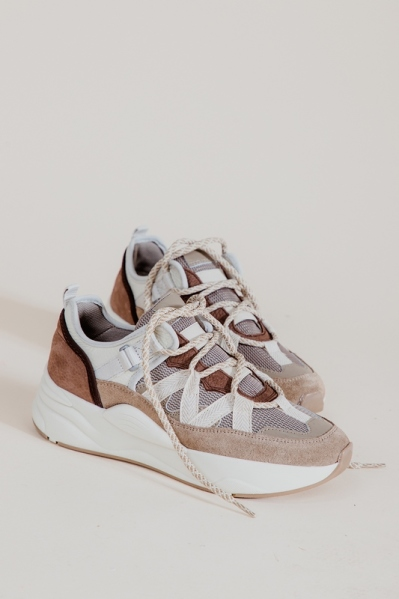 Sneaker tape grijs taupe combi taupe