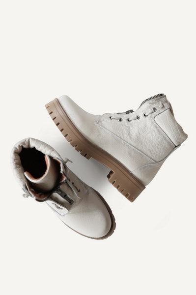 Bikerboot zipper front off white