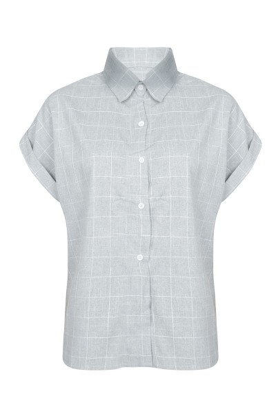 Charlie checked blouse grijs
