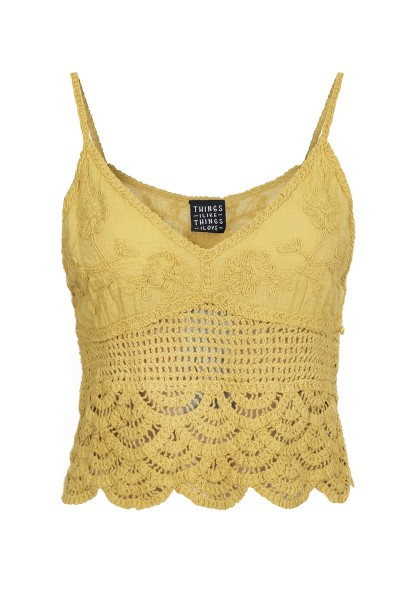 Knitted top geel