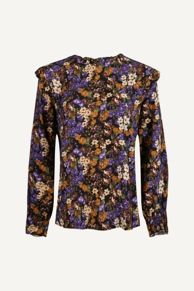 Flower blouse paars